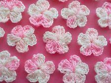 100 Pretty Crochet Wool Flowers - Lovely Pale Pink Swirl Flower Embellishments!