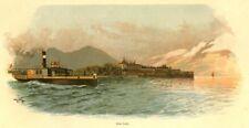 Isola del Garda, islola Lecchi, Lago di Garda, originale-farbholzstich circa 1890