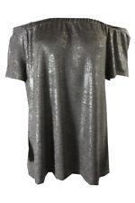 INC International Concepts Beige Silver Metallic Off-The-Shoulder Top M