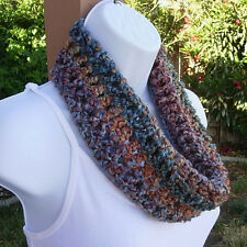 SUMMER COWL SCARF Gold Rust Red Blue Green Handmade Short Crochet Infinity Loop