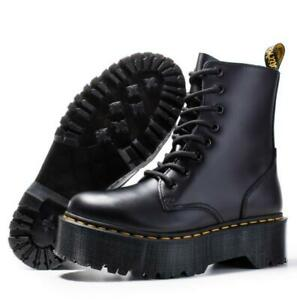 Womens Platform Goth Punk Chunky Army Military Flat Ankle Boots Biker Shoes New