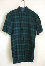 Vintage Pendleton Short Sleeve Plaid Flannel Shirt, Virgin Wool, Size SM, USA