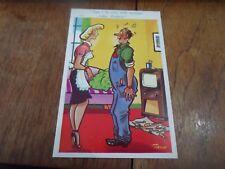 Risque Vintage Postcard Retro TELEVISION REPAIR MAN Humour  Artist TROW  §A69