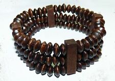 Original beaded bracelet - made of wood and modelling clay - brown