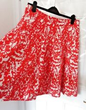 ❤ COAST Size 12 Red White Tailored Style Smart Skirt Side Zip Lined 100% Cotton