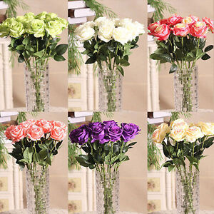 LN_ Home Rose Craft Centerpiece Silk Flowers Decor Party Wedding Bridal Gift P