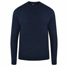Mens Cable Knit Jumper Sweater Pullover Long Sleeve Crew Neck Smart Top Navy L
