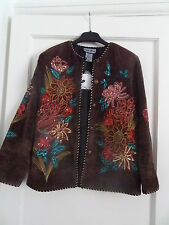 BNWT Indigo Moon sequins and embroidery brown chenille jacket size XS