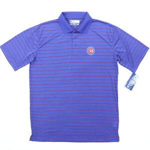 True Fan Chicago Cubs Men Large 46 Polo Shirt Baseball Blue Red Stripe Polyester