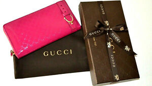 """$570 Gucci Zip Around Wallet  309758 """"Nice"""" PINK Patent Leather GG Guccissima"""