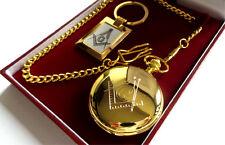Masonic Freemason 24ct GOLD Luxury Hunter POCKET WATCH & KEYRING Gift Set Case