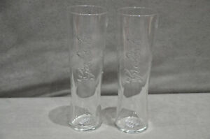Pair Of (2) Grolsch Blond 4% Nucleated And Tempered Pint Glasses Tall & Slim New