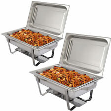 New 2 Pack of 9 Quart Stainless Steel Rectangular Chafing Dish Full Size
