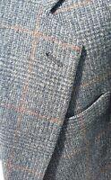 Camel Hair Tweed Gray Orange Check Plaid PLUSH Blazer Jacket Sport Coat Men 42R