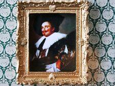 Laughing Cavalier imagen en Marco dorado recargado, casa de muñecas en miniatura, 1.12th