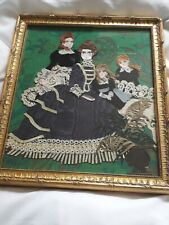 """Handmade Fabric & Lace Picture in Gilt Frame - Ladies/Children - 15"""" x 13"""""""