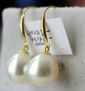 10-12mm white round pearl dangle earring 14k hook Classic Mesmerizing Jewelry