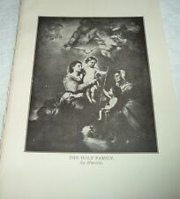 1919 THE HOLY FAMILY from painting by Murillo Print Virgin Mary & Infant Jesus