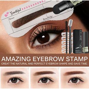 3D Women Eyebrow Powder Kit Stencil Shaping Stamper Card Brow Print Brush Knife