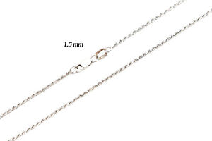 """14k Solid White Yellow Rose Gold 1.5mm Rope Chain Necklace Size 16""""-30"""""""
