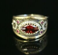 925 Sterling Silver Handmade Authentic Turkish Ruby Ladies Ring Size 8-12