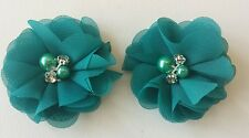 "2 Girls small Teal green  2""  Flower.Voile  Hair Clip pearl diamante centtre"