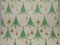 VTG 1940 WW2 ERA CHRISTMAS TREE WRAPPING PAPER GIFT WRAP 2 YARDS