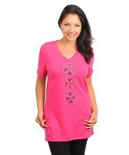Women Pink Sheer Mesh Criss Cross Cutout Detail  Rhinestone Top Blouse Size 1X