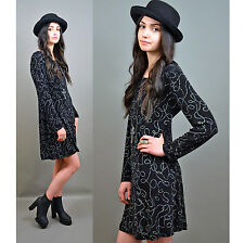 VTG 90s Dolly GRUNGE Babydoll Short BLACK Skater Goth Witchy Glitter Mini Dress