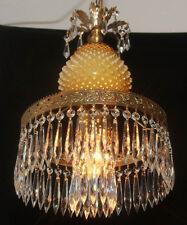 Vintage Crystal Lamp Chandelier Fenton Honeysuckle honey Glass hanging brass tol