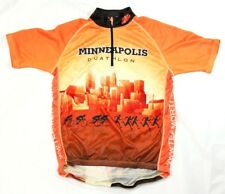 Minneapolis Duathlon women's cycling jersey orange size L short sleeve