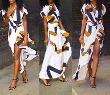Glamorous Women's Summer Boho Beach V Neck High Slit Wrap Waist Loose Long Dress
