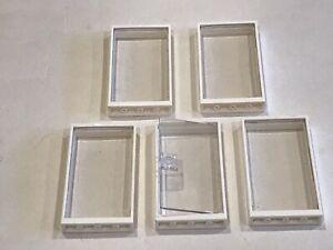 5 x Lego Door / Window Frame 1 x 4 x 6 White With Glass Inserts - P/N 60596