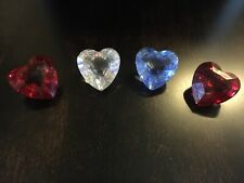 New ListingSwarovski Crystal Four Heart Paperweights Clear, Blue and 2 Red