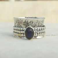 Labradorite 925 Sterling Silver Spinner Ring Meditation Statement Jewelry A82