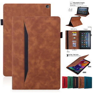 Smart Leather Wallet Stand Case For Amazon Kindle Fire HD 10 Plus 2021 HD 8 2020