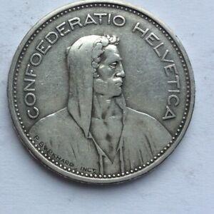 Swiss  1932 Silver 5 Frank Coin GVF