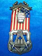 HISTORIC MASONIC BADGE WITH RIBBON  ORDER OF INDEPENDENT AMERICANS  U.S. GRANT