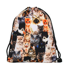 """Multicolor Cats Kittens 15"""" Drawstring Backpack Gym Travel Cat Kitty Bag"""