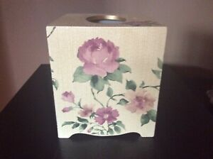 Croscill Resin Tissue Box Cover, Vintage Look Soft Pink Floral on Ivory