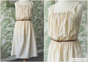 Vintage 80s Cotton Cream Ditsy Floral Print Prairie Ditsy Midi Dress Size 14