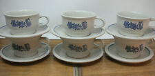 PFALTZGRAFF YORKTOWNE Set of 6 CUPS AND SAUCERS, GREY AND BLUE