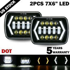 "Pair 7x6"" 5x7"" inch LED Headlight DRL Turn Signal for Toyota Nissan Pickup Truck"