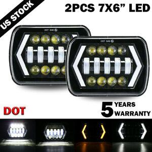 "Pair 7x6"" 5x7"" inch LED Headlight DRL Turn Signal for Toyota Nissan Pickup Truck"