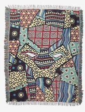 """Marvel Black Panther Throw Blanket Mask Metallic Patchwork 60""""x48"""" Tapestry NWT"""