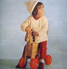 "Childrens Vintage Knitting Pattern Chunky Jacket &  Hat 20-26"" 51-66 cm WP331"