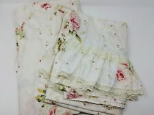 Vintage Twin/Full Sheet Set Pink Floral Ruffled Lace Shabby Chic Cottage Decor