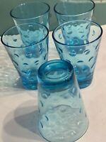 """Hazel Atlas Capri Dot Juice Glasses Turquoise Azure Blue Glass - 5 - 3 1/2"""" Tall"""