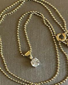 18ct Yellow Gold Solitaire Diamond Necklace 0.25ct Pendant & Chain Hallmarked