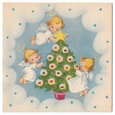 UNUSED Vintage Greeting Card Christmas Angel Decorating Tree Gibson 1940s L16